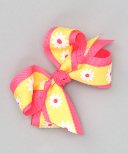 Neon Yellow Daisy Bow Clip