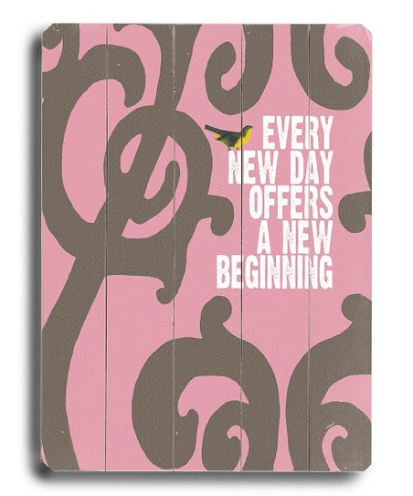 Pink 'Every New Day' Wall Art
