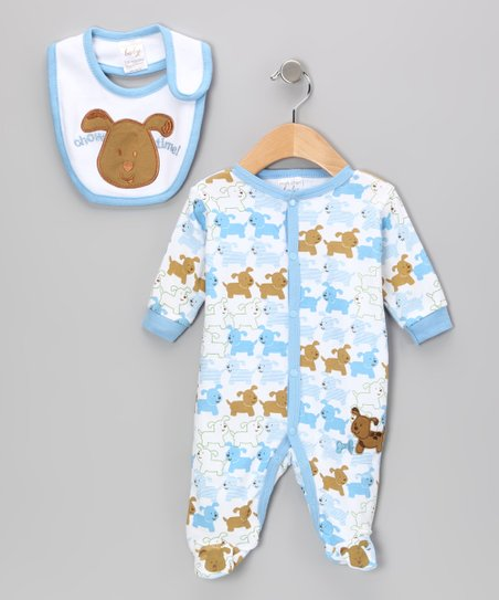 Blue & Brown 'Chow Time' Puppy Footie & Bib