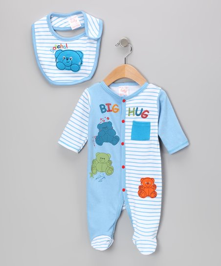 Light Blue Stripe Cuddle Bear Footie & Bib