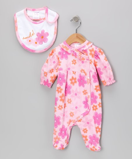 Pink 'Smile!' Flower Footie & Bib
