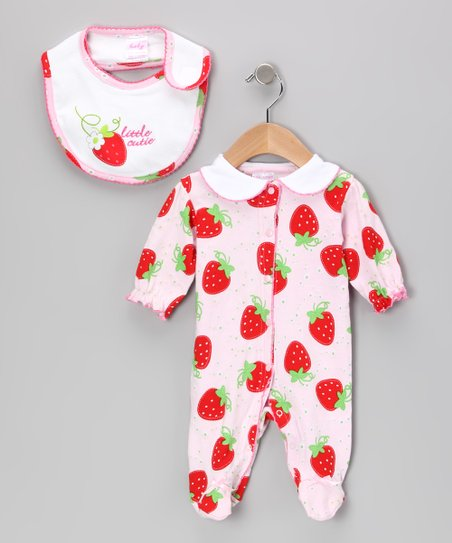 Light Pink 'Little Cutie' Strawberry Footie & Bib