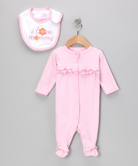 Light Pink 'I Love Mommy' Footie & Bib