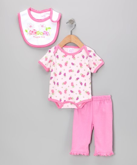 Pink 'Snuggle Bug' Bodysuit Set