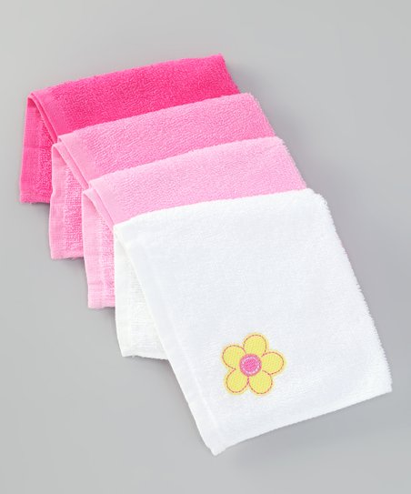 Pink Flower Washcloth Set