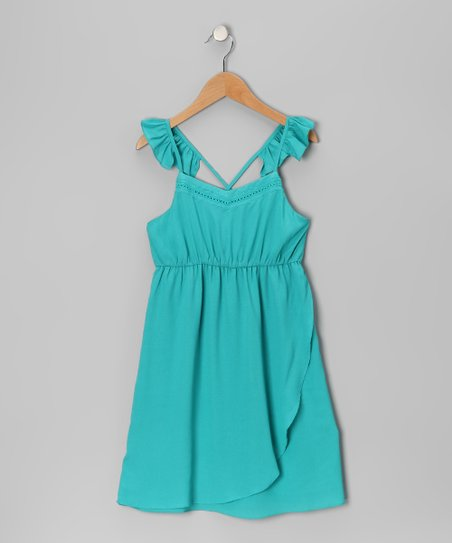 Aqua Angel-Sleeve Dress
