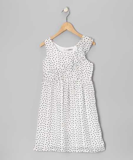 White Polka Dot Silk Dress