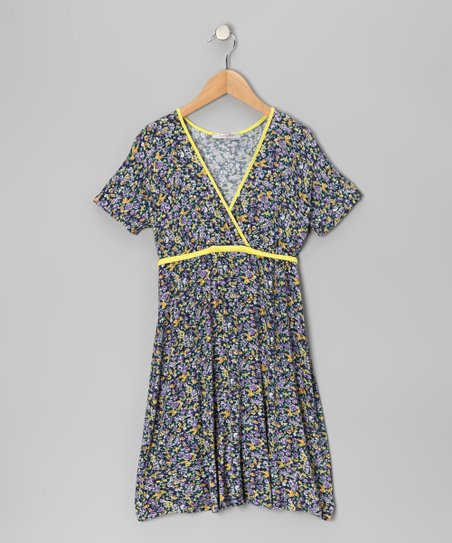 Yellow Floral Surplice Dress