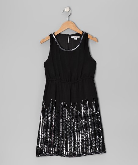Black Sequin Rain Dress