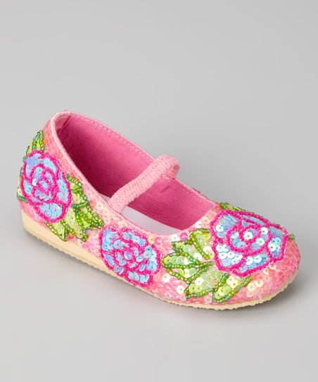 Pink Sequin Rose Flat