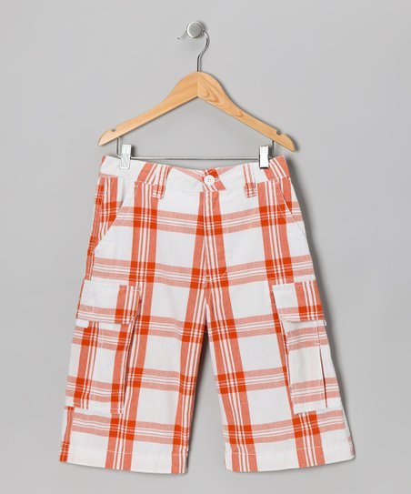 Orange Plaid Prescott Cargo Shorts