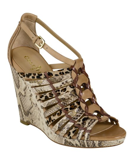 Cream Snakeskin Air Minka Wedge Sandal
