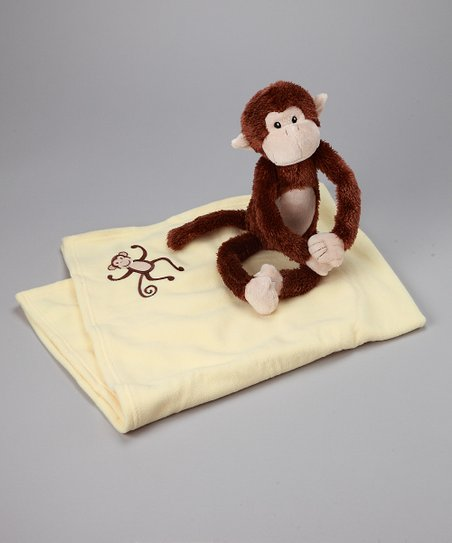 Brown Monkey Magoo Plush & Stroller Blanket Set