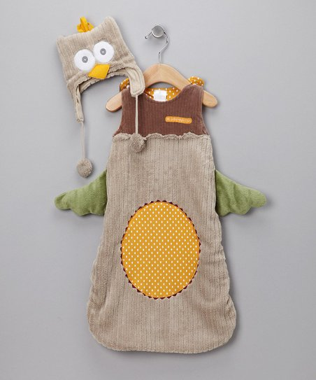 Brown Night Owl Sleep Sack & Beanie