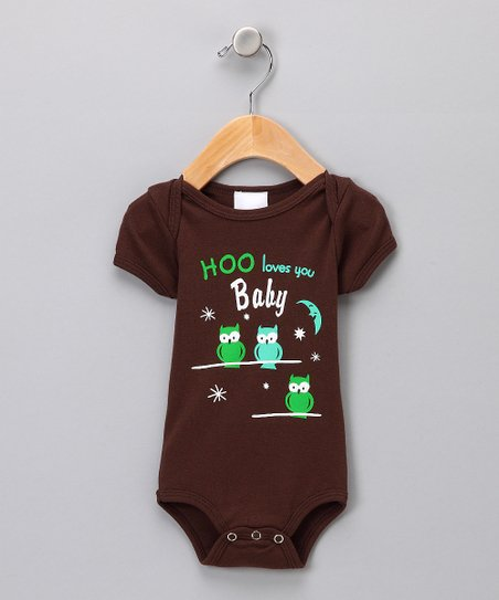 Brown 'Hoo Loves You Baby' Bodysuit - Infant