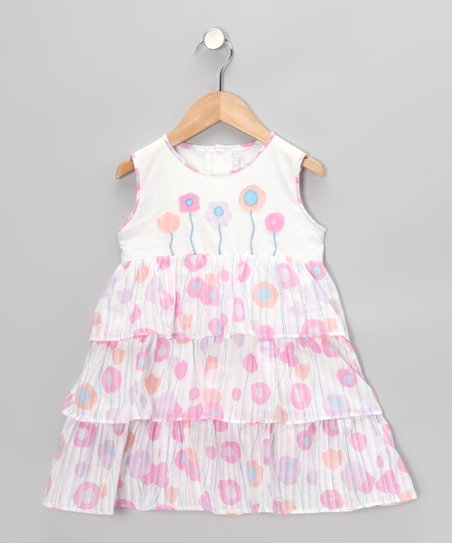 White & Pink Flower Tiered Dress - Infant, Toddler & Girls