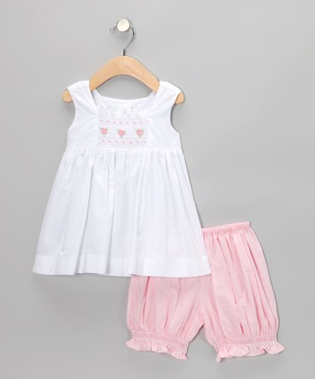 White Smocked Tunic & Pink Bloomers - Infant & Toddler