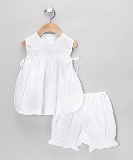 White Smocked Pinafore Tunic & Bloomers - Infant