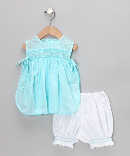 Aqua Smocked Pinafore Tunic & Bloomers - Infant