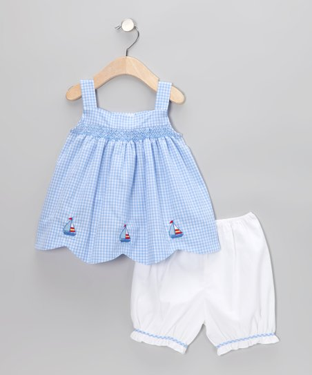 Blue Gingham Sailboat Swing Tunic & Bloomers - Infant & Toddler