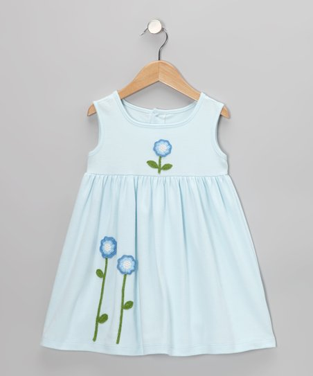Light Blue Crocheted Flower Dress - Infant, Toddler & Girls