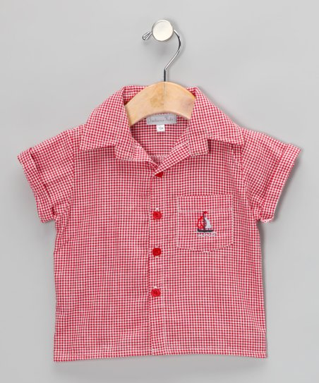 Red Gingham Sailboat Button-Up - Infant & Toddler
