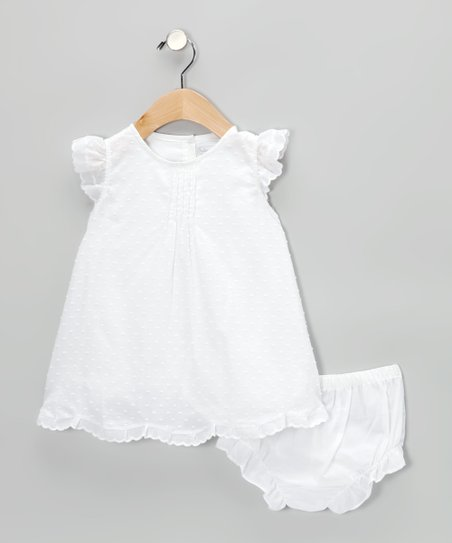 White Swiss Dot Angel-Sleeve Dress & Diaper Cover - Infant