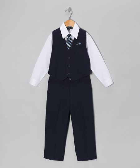 Dark Navy & White Five-Piece Vest Set - Infant, Toddler & Boys