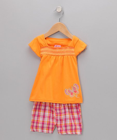 Allura - Orange Butterfly Top & Shorts