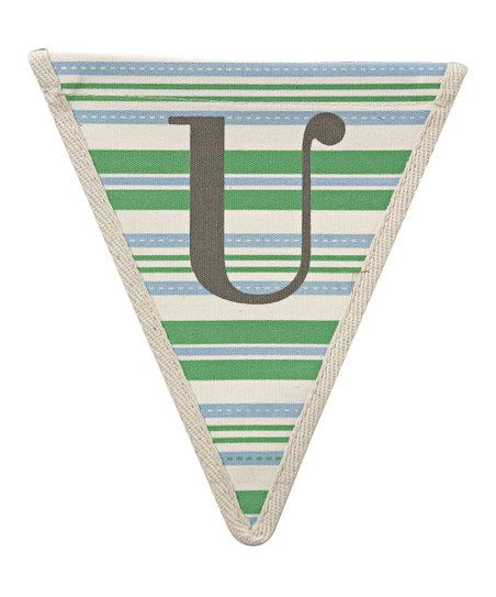Green Stripe 'U' Bunting Pennant - Set of Three