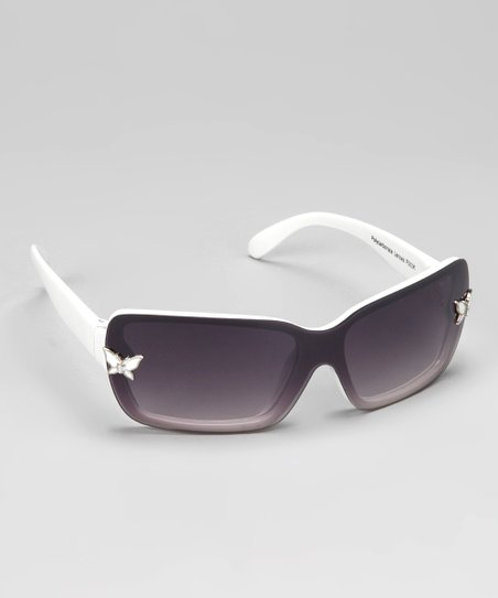 White Butterfly Square Sunglasses