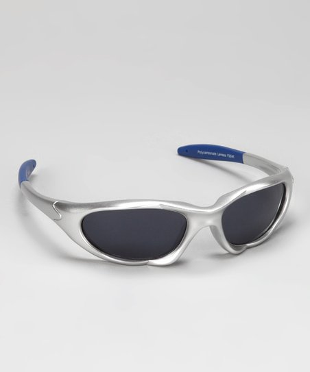 Silver & Blue Rubber Sunglasses