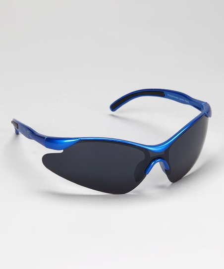 Blue & Black Rubber Curve Sunglasses