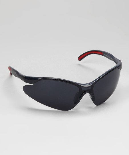 Gray & Red Rubber Curve Sunglasses