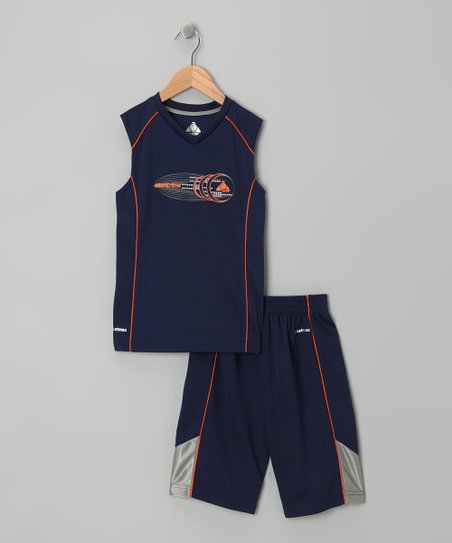 Navy & Orange Tank & Shorts - Infant, Toddler & Boys