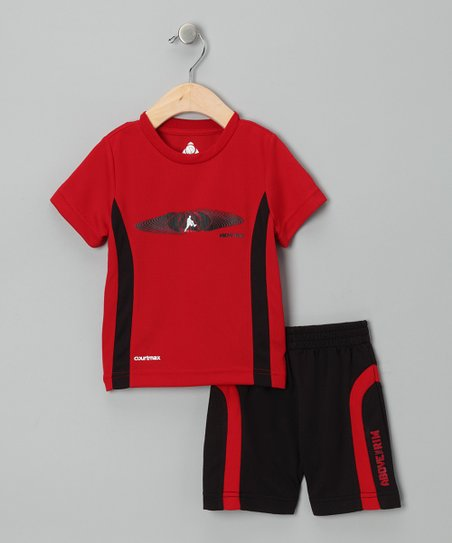 Red &amp; Black Stripe Tee &amp; Shorts - Infant &amp; Toddler