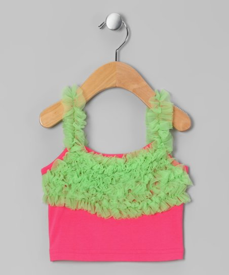 Hot Pink & Lime Green Ruffle Camisole - Infant