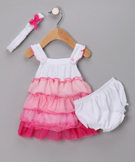 Pink & White Ruffle Dress Set