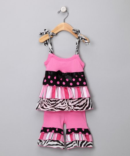 Pink Tiered Zebra Top & Ruffle Pants - Toddler & Girls