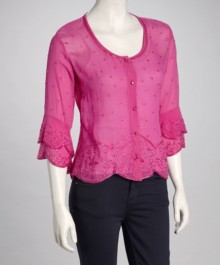 Pink Beaded Button-Up Top