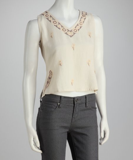 Taupe Floral Embroidered Sleeveless Top