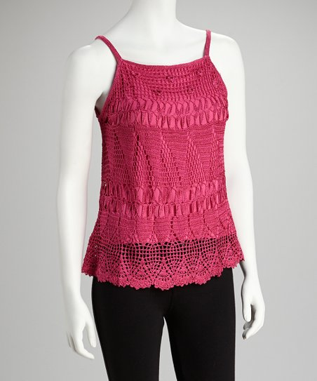 Fuschia Open Crocheted Camisole
