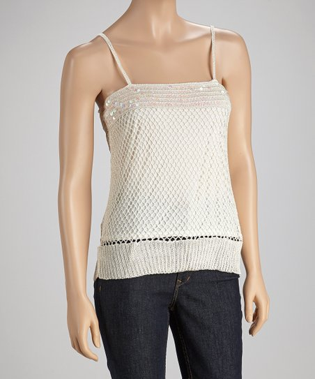 Cream Sequin Crocheted Tank
