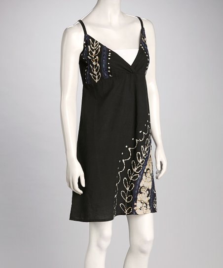 Black & Taupe Arabesque Surplice Dress