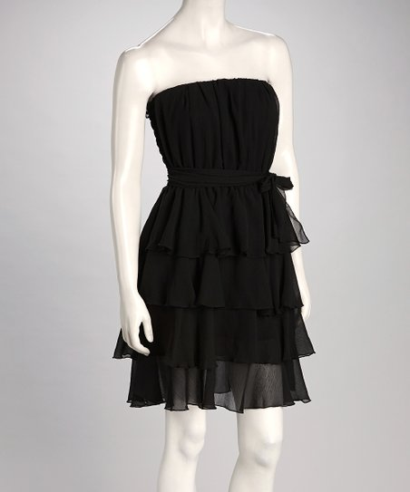 Black Ruffle Strapless Dress