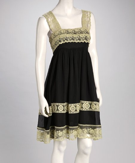 Black & Green Lace Chiffon Dress
