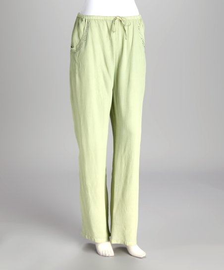 Green Embroidered Lounge Pants