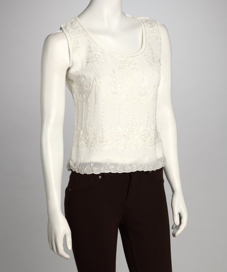 Cream Beaded Top