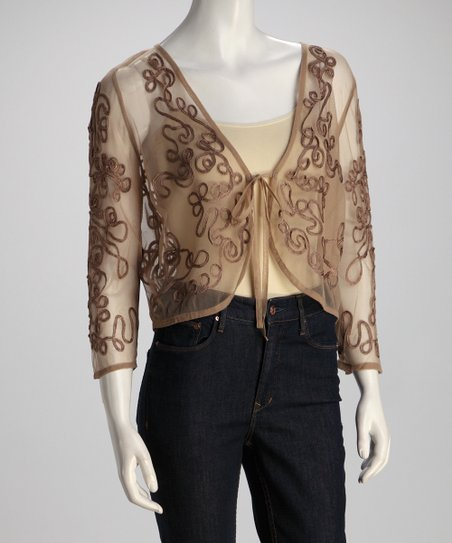 Mocha Lace Sheer Cardigan