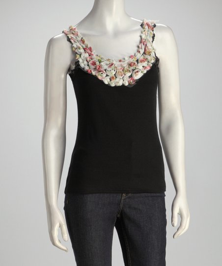 Black Floral Yoke Top